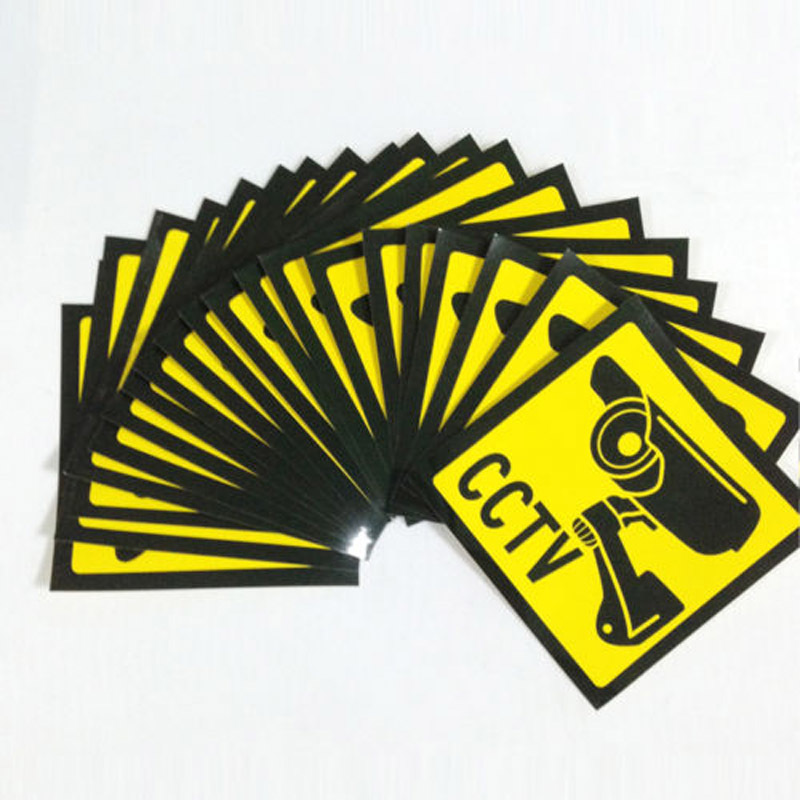 10pcs Sticker Warning Decal Signs Home CCTV Surveillance Security Camera Warn Paper Sticker new safurance 10pcs lot waterproof sunscreen pvc home cctv video surveillance security camera alarm sticker warning decal signs