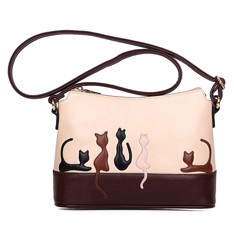 2017 Vintage Cat Printed Shoulder Bags Women PU Leather Handbags Fashion Messenger Crossbody Bag for Women Ladies Bolsa Feminina new fashion women bags women s solid pu leather handbags cross body shoulder bags female vintage messenger bag bolsa feminina
