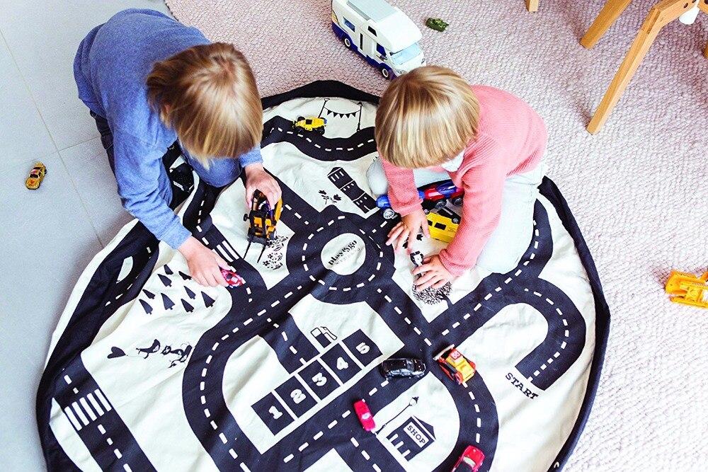 Ins Kids Ronde Snelweg Play Game Mat Multifunctionele Portable Kids Toy Opbergtas Baby Kruipen Ronde Tapijt Thuis Kamer Decoratie