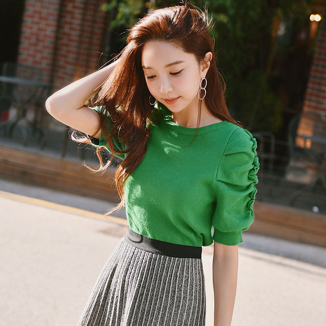 Dabuwawa Spring Short Green Casual Knitted Sweater Ruched Puff Sleeve Elegant Pullovers Tops For Girls Women Female #DN1AJS002