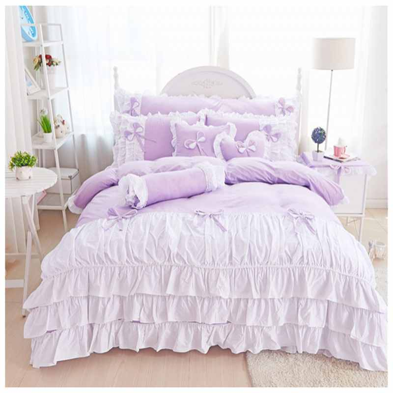 100% Cotton bedspread bed skirts 4pcs princess bedding set king queen size Ruffles duvet cover bed set pillowcases Purple Color100% Cotton bedspread bed skirts 4pcs princess bedding set king queen size Ruffles duvet cover bed set pillowcases Purple Color