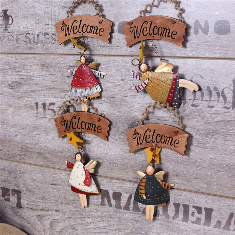 Mediterranean Style Vintage Wooden Open Closed Welcome Sign Plaque Angel Cafe Shop Door Hanging Sign Sign Type:welcome Buy One Give One Home & Garden Home Decor