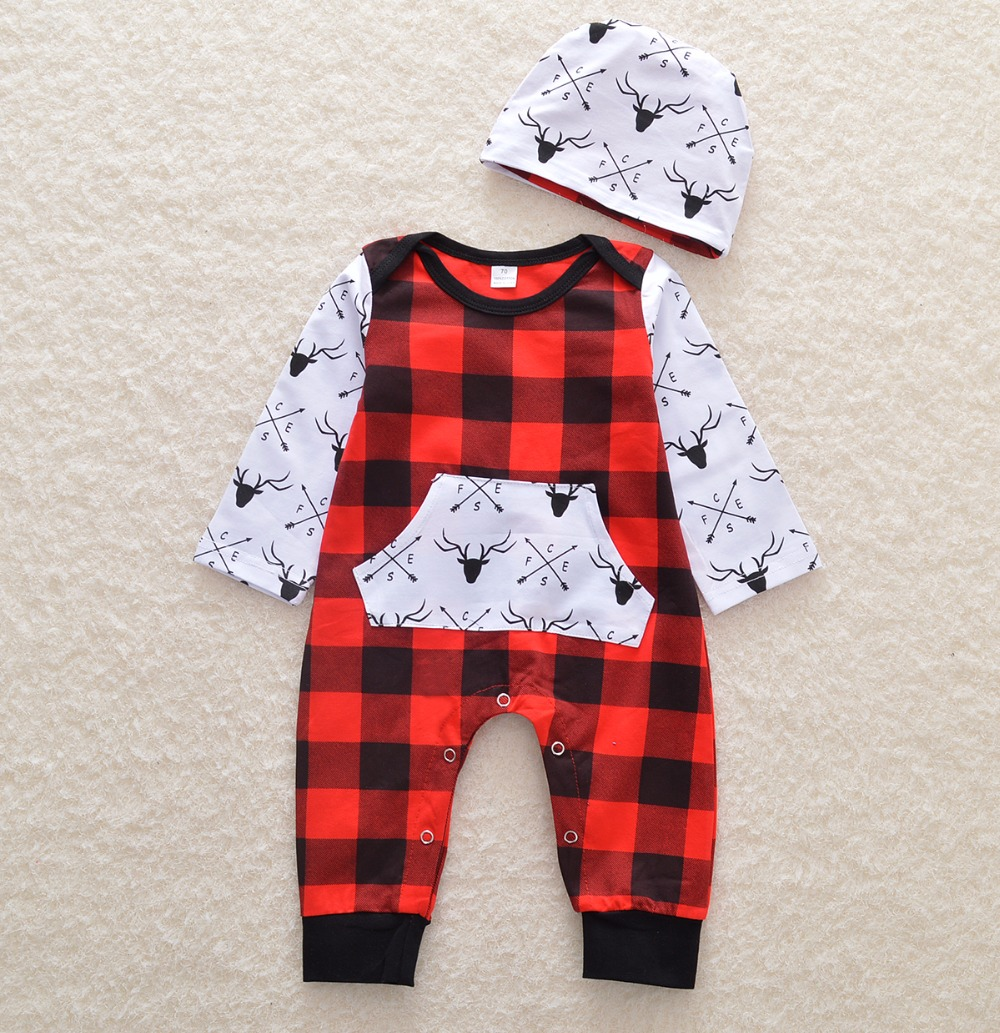 2017 The new red plaid Jumpsuit send hat baby girl clothes ...