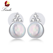 New Arrivals Vintage Natural Baroque Stud Earrings For Women Fashion Zircon 925 Sterling Silver Wedding Jewelry Freshwater Pearl