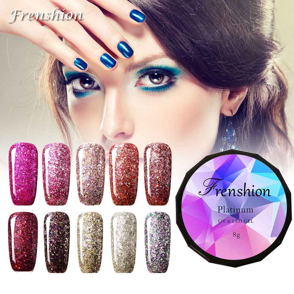 Frenshion Glitter Dark Red 8g Gel Lak Glitter Diamond Gel Nail ...