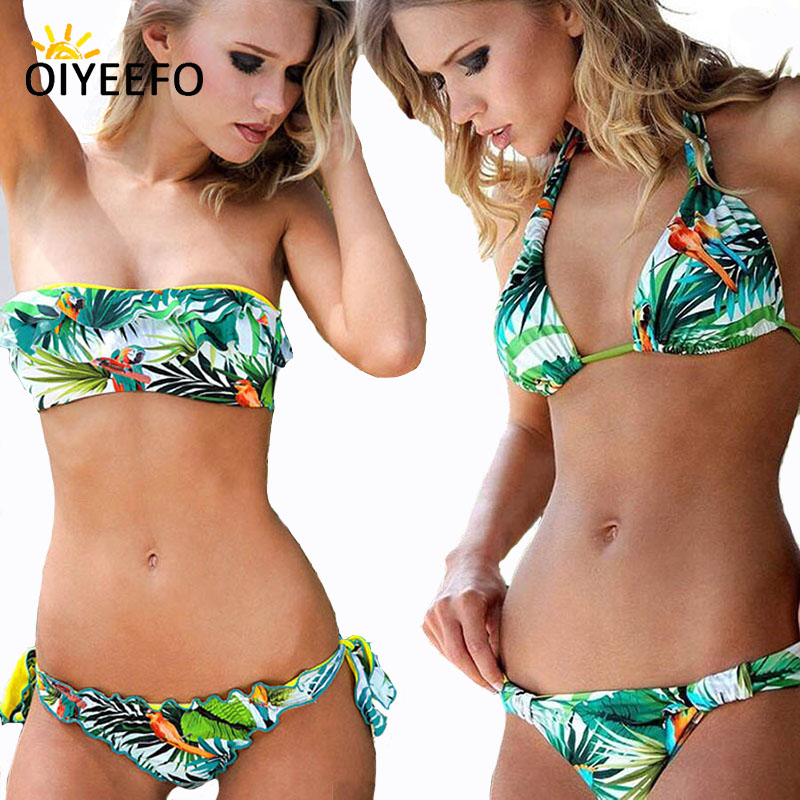 Oiyeefo Hot Sexy Bandeau Bikni Brazilian Bandage Swimsuit Women Floral Swimwear Female 2018 Bathing Suits Beach Wear Plavky Damy
