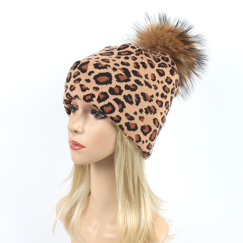 Thick Winter Hats For Women  Beanies Hat knitted wool warm Skull Beanie Girls Outdoor Leopard Brand Hats Fur Ball Caps Pompoms