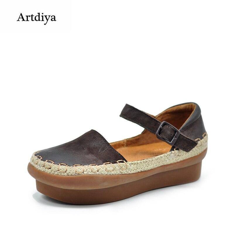 Artdiya Original Thick Sole Women Sandals Platform Genuine Leather Vintage Round Toe Handmade Shoes 17967
