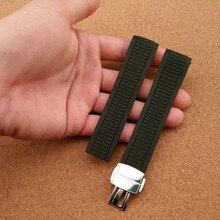 21mm Correa de Reloj Nuevo de Alta Calidad Negro Correa de Caucho de silicona Banda de extremo curvo para relojes de marca accesorios foliding cierre