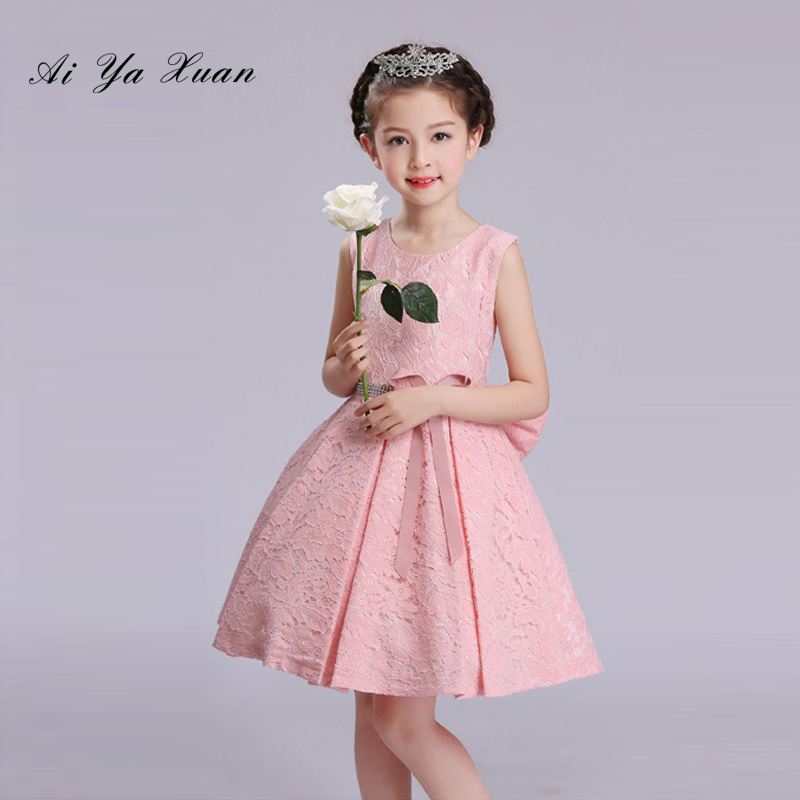 AiYaxuan Pearl Girl Summer Dresses for Wedding Pink Flower Girl Dress with Big Bow 2-7 Party Princess Baby Girl Birthday Dress new fashion embroidery flower big girls princess dress summer kids dresses for wedding and party baby girl lace dress cute bow
