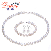 High Quality Pearl Jewelry Sets Pure White Rice necklace 925 Sterling Silver Earrings Pearl Jewelry For Women .