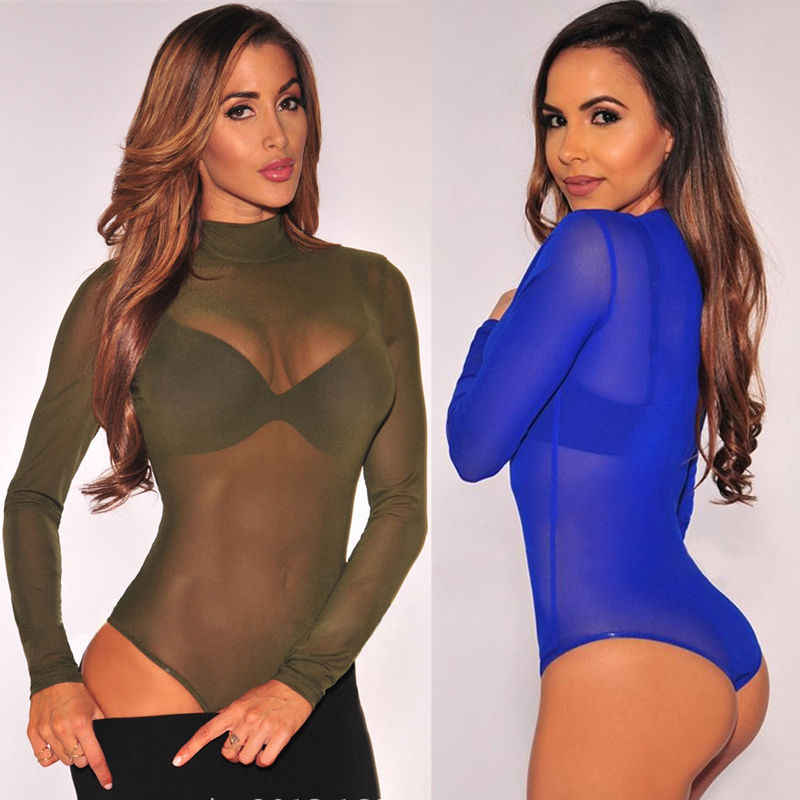 Nieuwe See Through Bodysuit Vrouwen Sexy Mesh Transparante Lange Mouwen Coltrui Mesh Rompertjes Stretch Tops Overalls