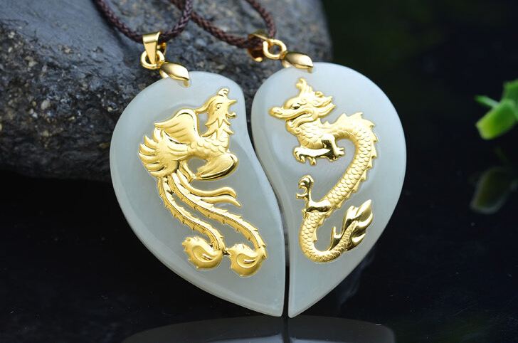 100% Natural Nephrite Hetian and 24K Yellow gold Dragon Phoenix Pendant