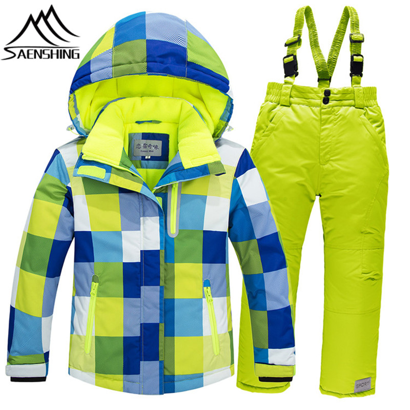 Saenshing Childrens Ski Jacket Pants Waterproof Super Warm Ski Suits for Kids Plaid Pattern Boys Girls Snow Snowboarding Suits