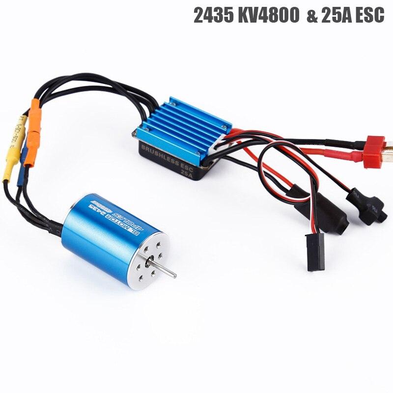 RC Car Model Parts 2435 4800KV 4P Sensorless Brushless Motor with 25A Brushless ESC for 1/16 1/18 RC Car Off Road Truck