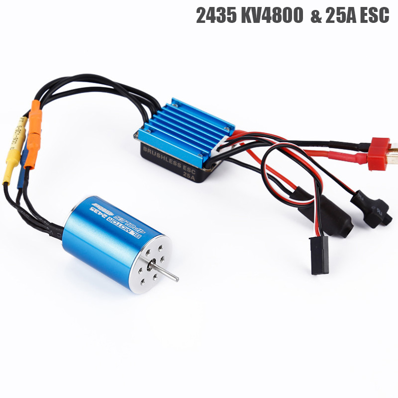 RC Car Model Parts 2435 4800KV 4P Sensorless Brushless Motor with 25A Brushless ESC for 1/16 1/18 RC Car Off Road TruckRC Car Model Parts 2435 4800KV 4P Sensorless Brushless Motor with 25A Brushless ESC for 1/16 1/18 RC Car Off Road Truck