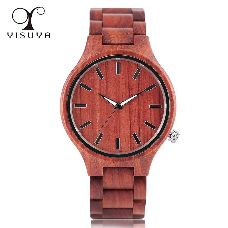 Montre en bois de bambou pour hommes Unique en bois de santal rouge conception Top marque de luxe Quartz bois Bracelet fermoir montre-Bracelet cadeaux