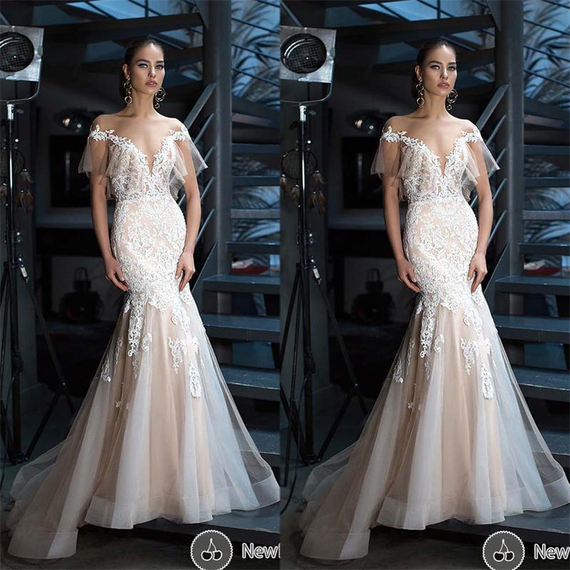 Cheap White Ivory Wedding Dresses Mermaid Lace Appliques: 2017 New Sexy Ivory/White/Champagne Mermaid Wedding