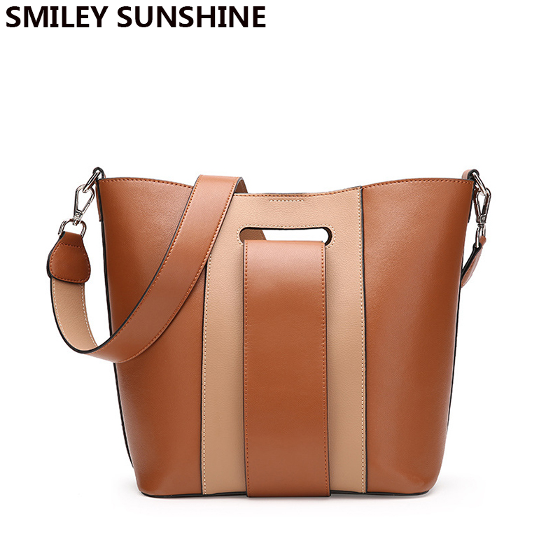 SMILEY SUNSHINE brand new winter genuine leather women bags female vintage fashion shoulder bags crossbody composite