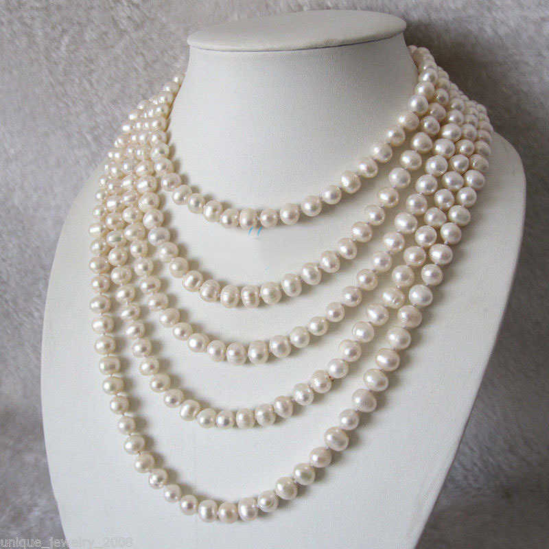 Wholesale 100 7-8mm White Freshwater Pearl Strand Necklace Cultured Jewelry (A0325)Wholesale 100 7-8mm White Freshwater Pearl Strand Necklace Cultured Jewelry (A0325)