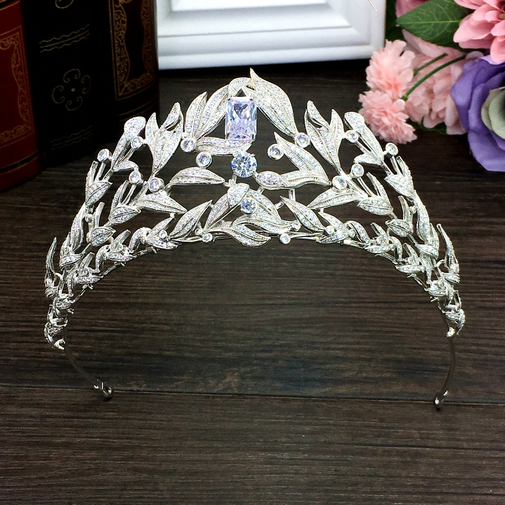 Проложили полный кубический циркон тиара циркония Laurel Корона CZ Diadema Свадебные Coroa аксессуары для волос Bijoux Cheveux WIGO1308