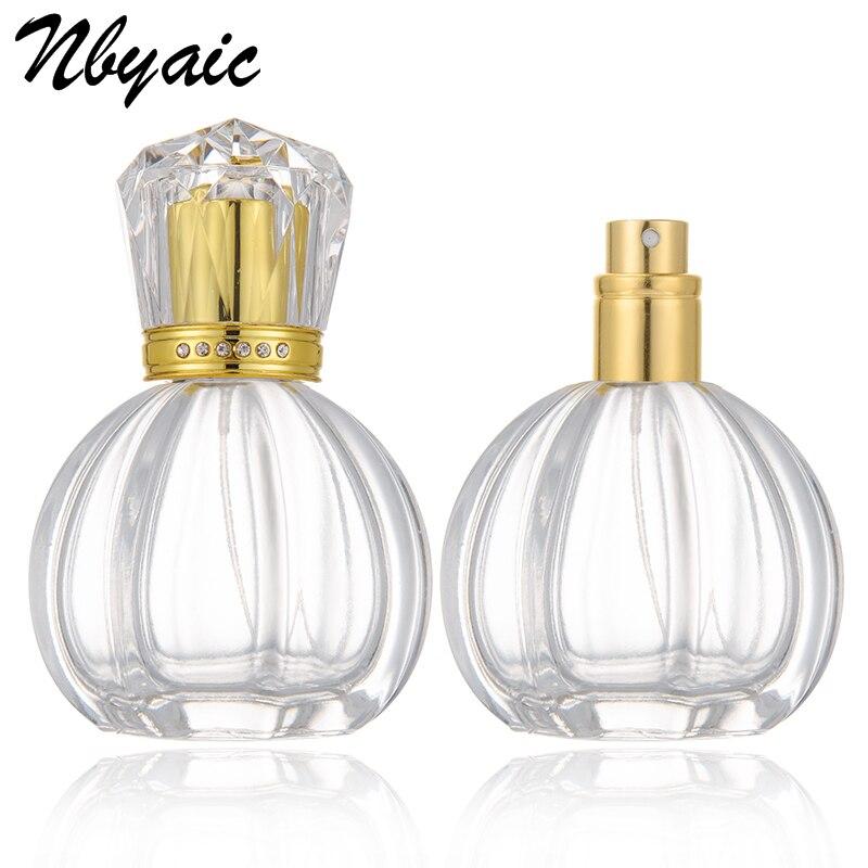 Nbyaic 1 stücke hohe-grade diamant-verkrustete deckel parfüm flasche glas sub-flasche parfüm spray flasche zerstäuber grapefruit form