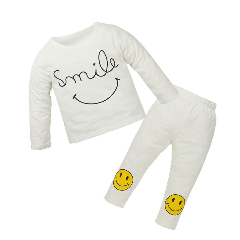 2pcs/Set Fashion White Winter Baby Long Sleeve Smile Face T-Shirt+Pants Infant Clothes Set Newborn Boy Girl Sports Outfits Suits