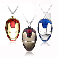 HANCHANG Movie Jewelry The Avengers Superhero Iron Man Mask Pendant Necklace Chain Cosplay Collier Gift For Men Boys