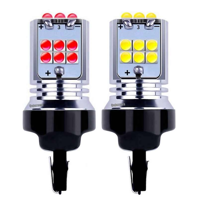 2PCS New T20 7443 W21/5W Super Bright 1800LM LED Auto Tail Brake Lights Parking Lamps Car DRL Daytime Running Bulbs Turn Signals