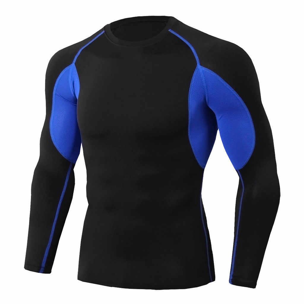 Kompresi Kemeja Pria Biru T Shirt Fitness Bodybuilding T-shirt Top Tee K Berlaku Pria Olahraga Pakaian # Xtn