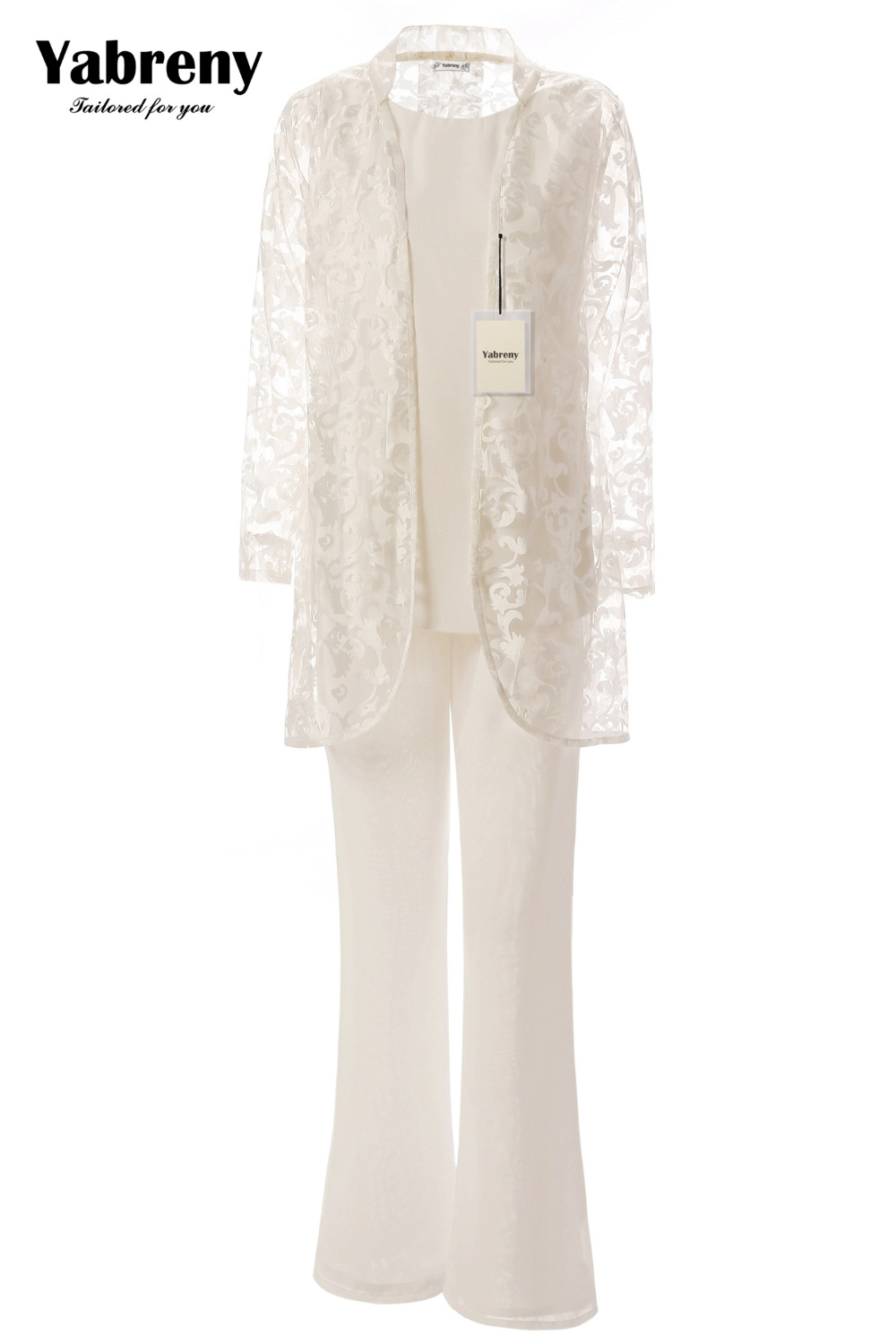 Yabreny Mother Of The Bride Pantsuit With Lace High Collar Jacket Ivory 3PC Outfit For Wedding MT0017009