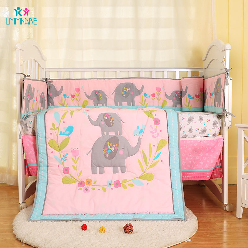 Newborn Baby Bed Bumper Pink Cute Flower Elephant Pattern Baby Girl Bed Sheet Quilt Bedskirt Breathable Comfort Baby Bedding Set