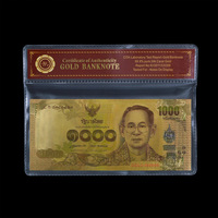 Normal Gold Foil Banknote Thailand 1000 Baht Colored Gold Banknote Decor Collectible Wholesale