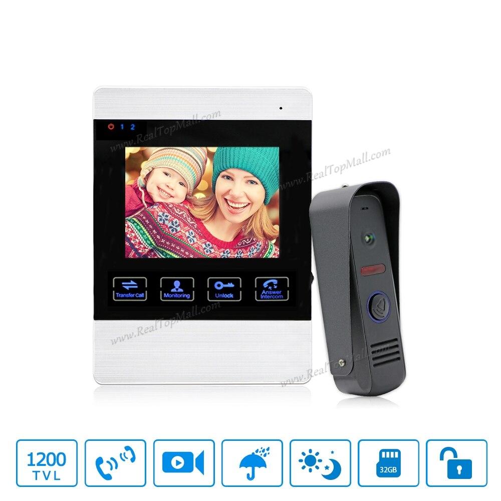 Door Intercom Video Cam Doorbell  Door Bell With 4 Inch TFT Color Monitor 1200TVL Camera