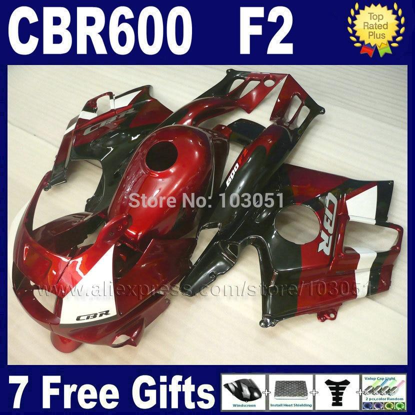 Custom fullset fairings kits for Honda red black 1993 1994 CBR600 F2 1991 1992 CBR 600 F2 92 93 CBR600 F 91 94 fairing kits+ tan