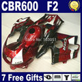 Custom fullset fairings kits for Honda red black 1993 1994 CBR600 F2 1991 1992 CBR 600 F2 92 93 CBR600 F 91 94 fairing kits+ tan