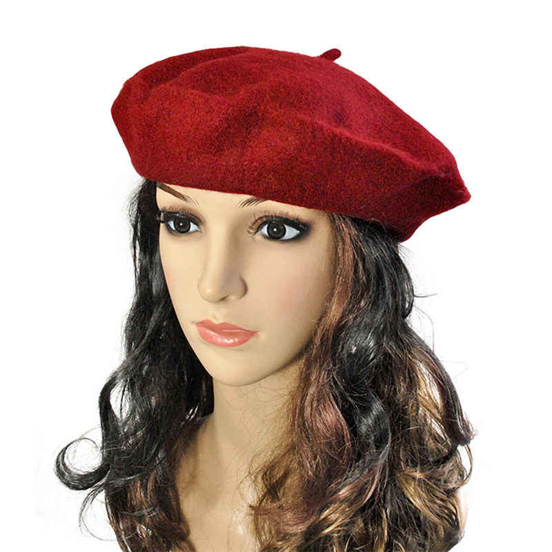220ed3ba719 Detail Feedback Questions about 2018 Winter Women Solid Wool Beret Hat  French Artist Warm Beanie Hat Female Cotton blend Winter Ski Cap boinas de  mujer on ...