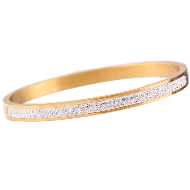 Top Quality Fashion Rose Gold Silver Two Row Crystal Rhinestone Pave Stainless Steel Love Bracelets Bangles for Women Gifts