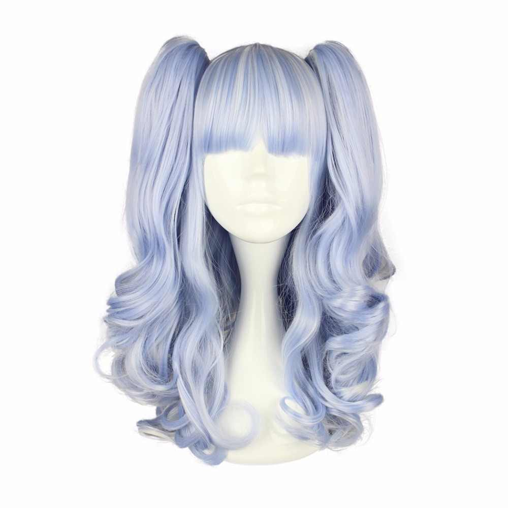 MCOSER 50cm Long Synthetic Wavy Two ponytails Light Blue Color Wig 100% High Temperature Fiber WIG-437A