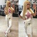 2016 Mulheres verão Define Moda Top & Calças Sexy Magro Ocasional Curto Treino Duas Peças Set Leggings Femme