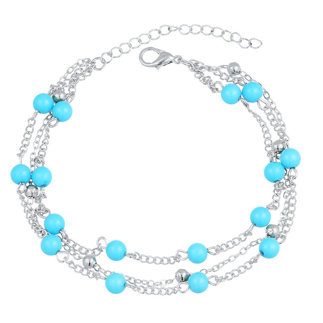 533d2f9550dd2 US $1.78 44% OFF|Blue Beads Pendant Anklet For Women Multilayer Foot Chain  Gold Silver Color Ankle Bracelets Beach Leg Barefoot Sandals Jewelry-in ...