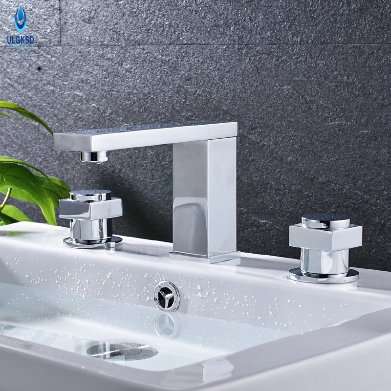 Ulgksd Dual Swivel Handles Bathroom Faucet Chrome Basin Sink Faucet Water Tap Deck Mounted Washing Faucet Hot and Cold Mixer Tap micoe hot and cold water basin faucet mixer single handle single hole modern style chrome tap square multi function m hc203