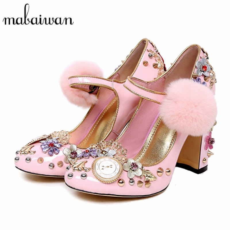 Mabaiwan Rhinestone Horologe Design Women High Heels Handmade Vintage Women Pumps Chunky Heel Pom Pom Wedding Dress Shoes Woman pom pom front zipper design stiletto heels