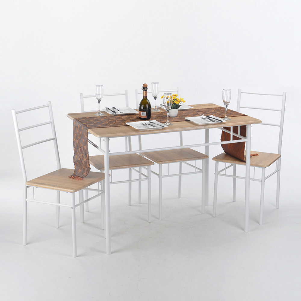 High Quality Dining Furniture: Aingoo 5Pcs Woodiness Stripe Desktop Dining Room Set