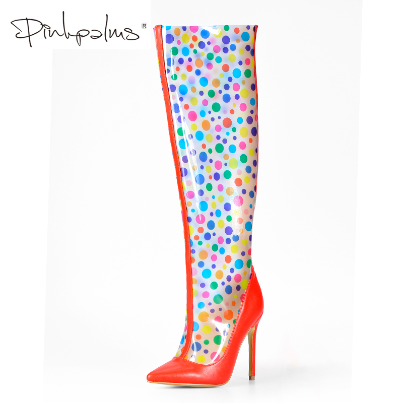Pink Palms Shoes Women Transparent Boots Autumn High Heel Perspex Shoes Clear PVC with Polka Dot