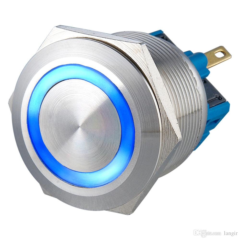 L25-F-S-R  Yes  Flat    5A Metal LED Illuminated Momentary 25mm(Dia.25mm) Push Button Switch Stainless Waterproof Car Dash IP65 1pc 12mm power start push button with led 12v 24v momentary auto reset metal button switch indication illuminated flat head