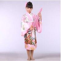 Pink Japanese Baby Girl Silk Kimono Dress Traditional Children Yukata With Obi Child Kid Girl Dance