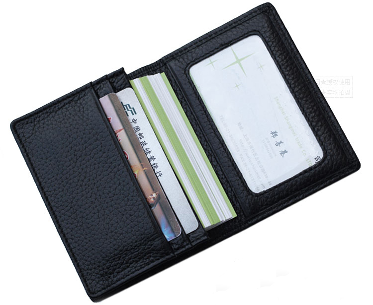 Black genuine leather credit card wallet man card holder orange black genuine leather credit card wallet man card holder orangeyellowblue large capacity business card purse bifold in card id holders from luggage colourmoves