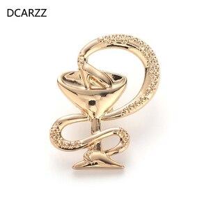 Fashion Bowl of pedueia przypinka złota róża złota broszka biżuteria pielęgniarka lekarz Symbol medyczny Pin kobiety akcesoria prezent
