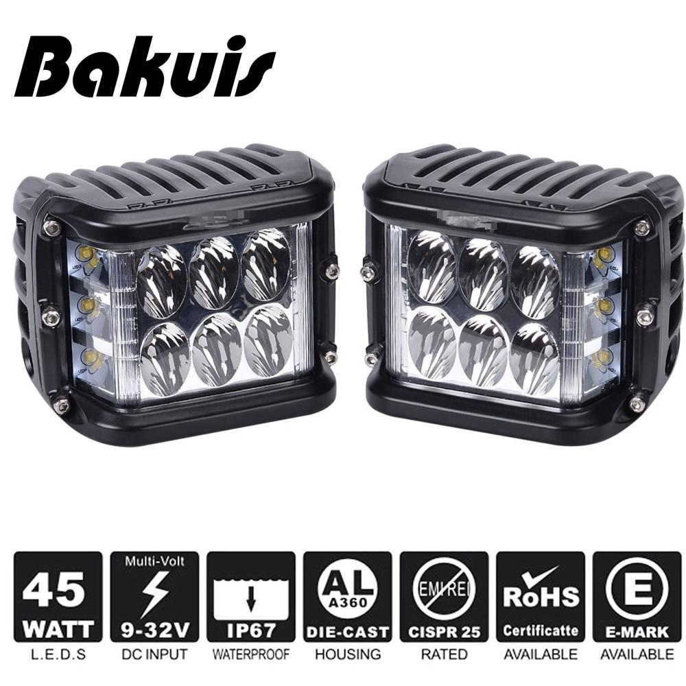 Bakuis 2X Car 45W Side Shot Pod LED's Cube Led Work Light Off Road Driving Lights With Single Side Light For Jeep UTV RZR Truck
